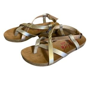 Blowfish Malibu Gold, Silver, and Bronze Toned Sandals - Girl's Size 13
